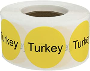 Yellow with Black Turkey Circle Dot Adhesive Stickers, 1 Inch Round Labels, 500 Total Stickers