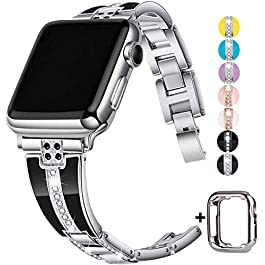 JSGJMY Bling Bands Compatible with Apple Watch Band 38mm 40mm 42mm 44mm with Case,Women Diamond Rhin