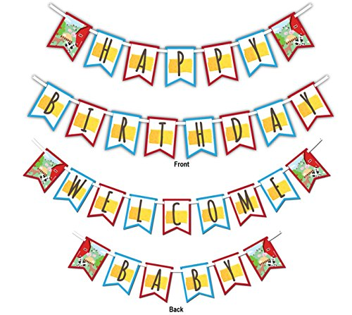 Barnyard Farm Animals Multi-Use Happy Birthday or Welcome Baby Shower Party Banner Decoration (23ft Ribbon) (Farm Welcome)