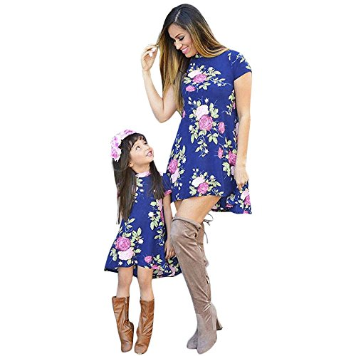Sunbona Mom&Me Toddler Baby Girls Matching Short Sleeve Floral Ruffled Beach Mini Dress Casual Family Outfits Clothes (18M(12~18months), Baby (Mini Me Costume Pattern)