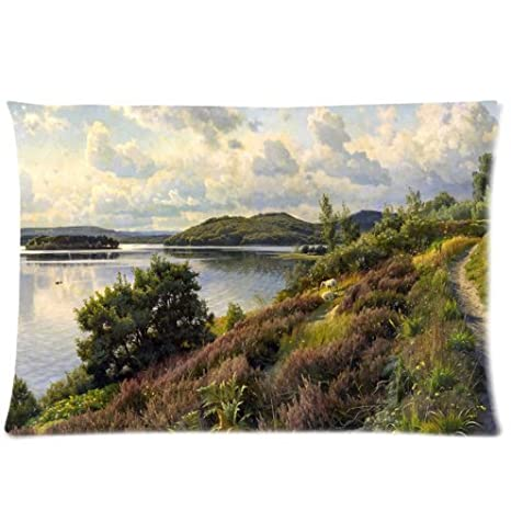 Custom Painting Landscape River Trail Trees Sky Clouds Hills Sheep