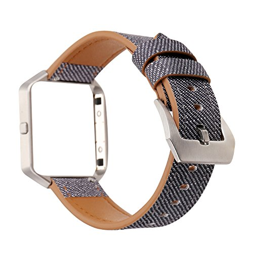Design Fit Band Comfort (For Fitbit Blaze Accessory Band, Soft Leather Watch Band Wrist Strap with Steel Frame for Fitbit Blaze Smart Watch Bracelet (Grey Black))