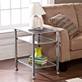 Southern Enterprises Glass End Table, Silver Frame Finish