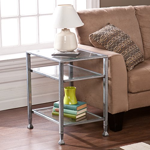 Southern Enterprises Glass End Table, Silver Frame Finish - Glass Legs