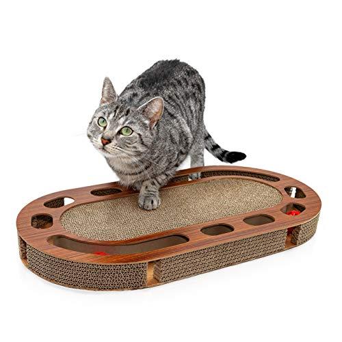 Pfotenolymp® Katzenspielplatz – interaktives Katzenspielzeug/Kratzbrett aus Wellpappe – Kratzpappe – Futterspielzeug mit…