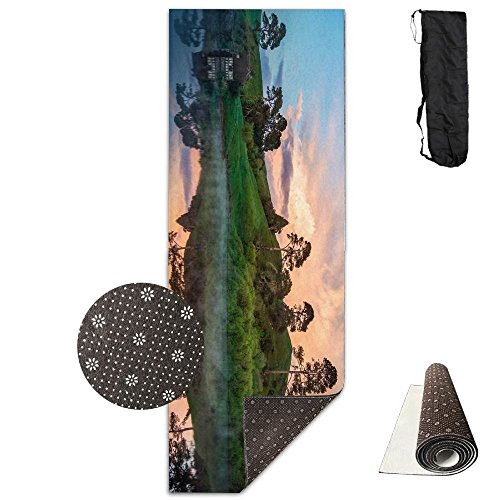 Trees Lake Reflections Yoga Mat - Advanced Yoga Mat - Non-Slip Lining - Easy To Clean - Latex-Free - Lightweight And Durable - Long 180 Width 61cm by Mmim