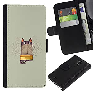 For Samsung Galaxy S4 Mini i9190 MINI VERSION!,S-type® Grey Pastel Colors Yellow Animal Cartoon - Dibujo PU billetera de cuero Funda Case Caso de la piel de la bolsa protectora