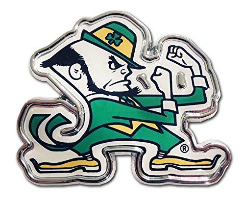 The University of Notre Dame METAL Auto Emblem - Many Different Colors Available! (Leprechaun - colors) Notre Dame Emblem