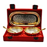 Odna Bichona Return Gift Silver And Gold Plated Brass Bowl And Tray Set Of 5 Pcs (22.606X12.7X6.35, Silver And Gold)