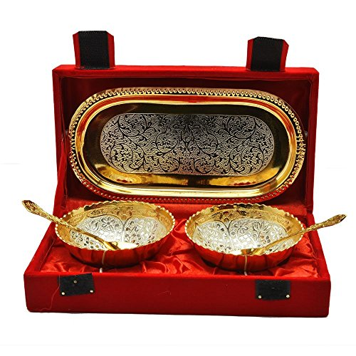 SRIJANKALA Silver and Gold Plated Brass Bowl and Tray Set of 5 Pcs