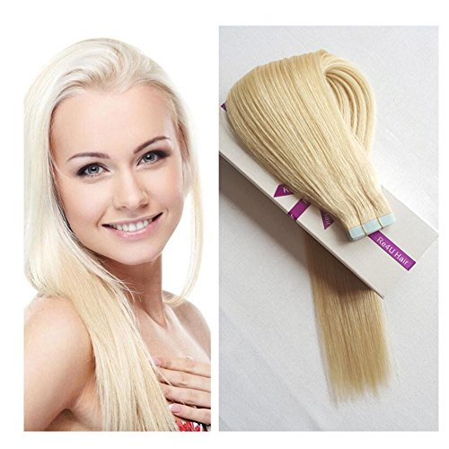 """Beauty : Hair Extensions Tape in, Re4U Straight European White Blonde 100% Silky Virgin Remy Tape in Human Hair Extensions (20""""-20pcs 50g/pack #60)"""