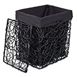 BirdRock Home Decorative Willow Laundry Hamper with Liner | Woven Wooden Laundry Basket | Wicker Reed Frame and Lid | Removable Liner | Dirty Clothes Storage | Black