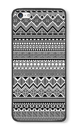 Reg Patterned - iPhone 5C Case AOFFLY® Black And White Aztec Tribal Patterned Black PC Hard Case For Apple iPhone 5C