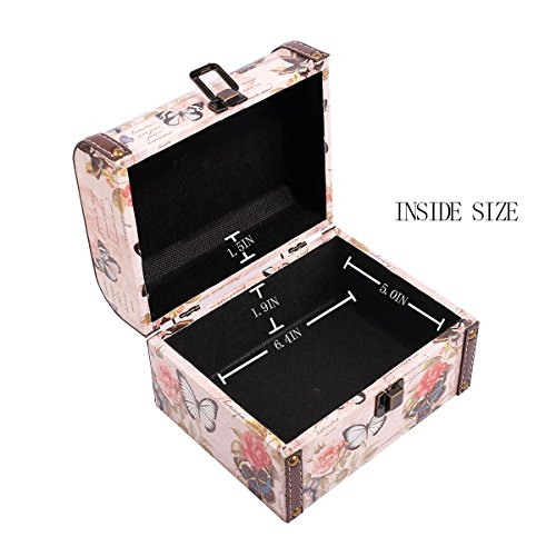 WaaHome Butterfly Wooden Treasure Boxes Decorative Jewelry Keepsakes Box for Kids Girls Women Gifts,Pink (7.1''X5.6''X4.7'') by WaaHome (Image #3)