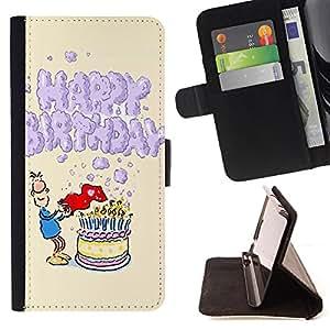 Dragon Case - FOR LG G2 D800 - happy birthday - Caja de la carpeta del caso en folio de cuero del tir¨®n de la cubierta protectora Shell