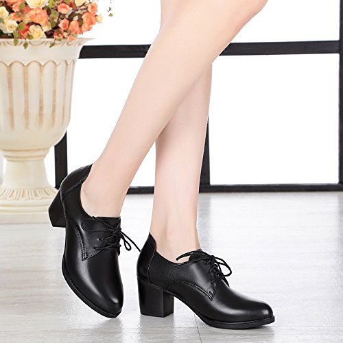 Lace Pointed Dethan Middle Women's Chunky Toe Heel Boots Ankle Black up BTqBaYw7