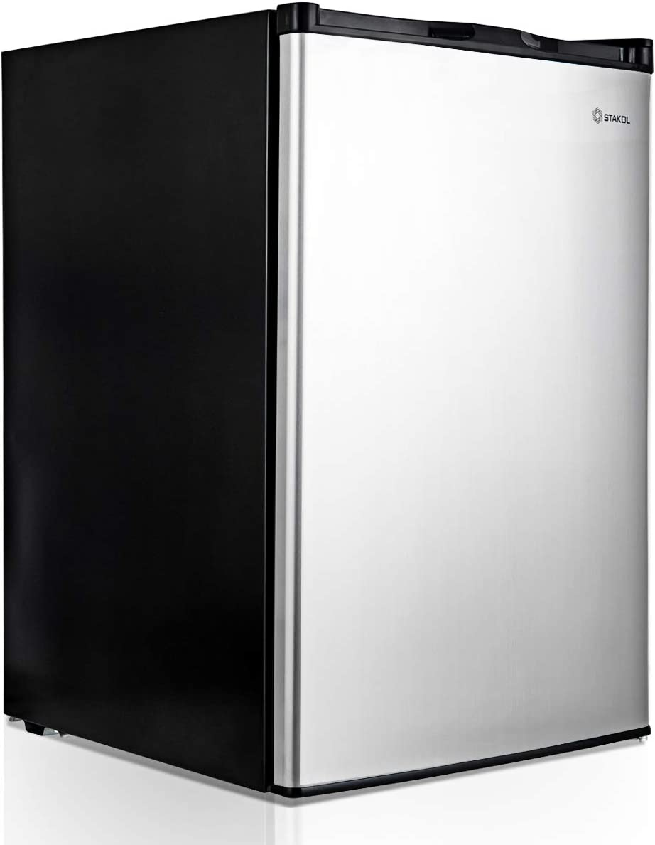 HOMGX Upright, Mechanical Control, Freestanding Mini Freezer with Single Reversible Stainless Steel Door, with Adjustable Leg, for Home, Hotel, Apartment