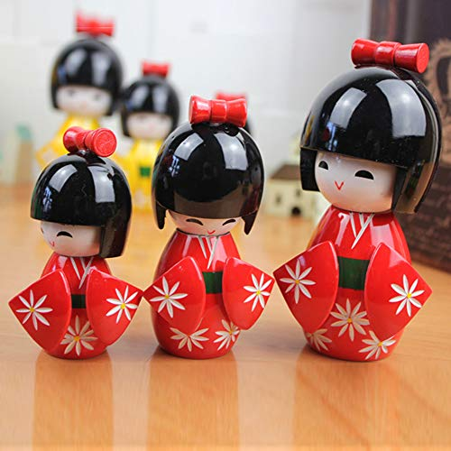 Carving Expert Floral Red Japanese Kimono Shyly Smiling Girl Wooden Kokeshi Doll Toy
