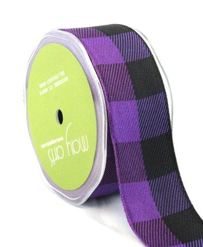 May Arts 1-1/2-Inch Wide Ribbon, Purple and Black Jumbo Check by May Arts