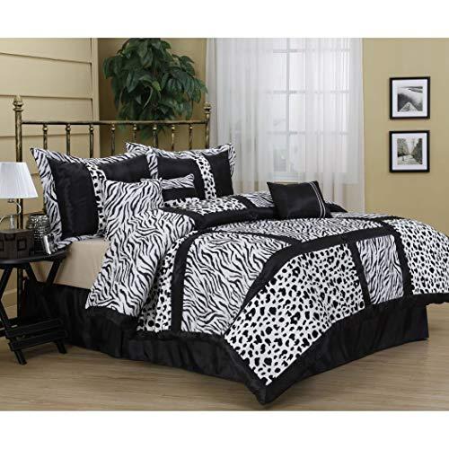 DP 7pc Girls Black White Zebra Stripes Comforter Queen Set,