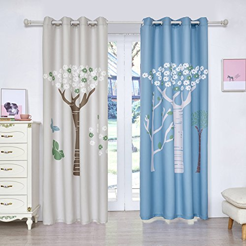 Fassbel 2 Panel Set Digital Printed Blackout Window Curtains for Bedroom Living Room Dining Room Kids Youth Room Window Drapes (W54× L84, Tress in Blue and White Background)