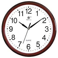 CLOCKZHJI Wall Clock, Silent Non Ticking Quality Quartz Battery Operated 15 Inch /38 cm Round Easy to Read Home/Office/School Clock (Color : Brown)