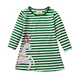Zerototens Girls Dresses,1-7 Years Old Toddler Infant Kids Clothes Long Sleeve Purple Striped Cartoon Animal Print Cotton Dress Autumn Winter Casual Mini Skirt One-Piece Dress (5-6 Years Old, Green)