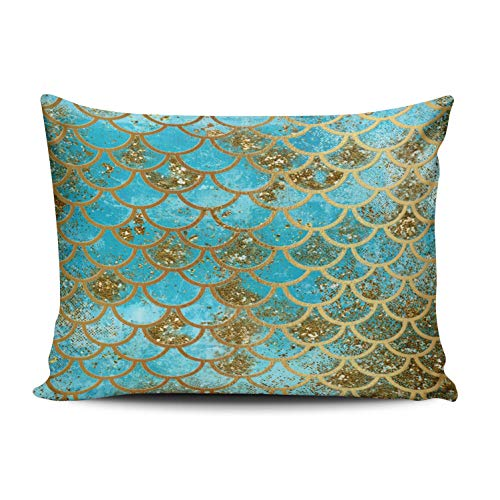 (WULIHUA Throw Pillow Covers Iridescent Teal Gold Glitter Mermaid Fish Scales Boudoir Outdoor Cushion Cover Pillowcase Size 12x16 Inch One Sided Printed Chic Fashion Design)