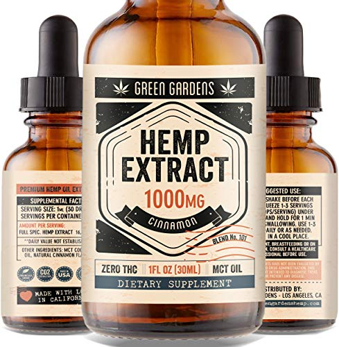 Hemp Oil Extract 1000mg for Anxiety, Pain, Stress Relief - Mood Support, Deep Sleep, Anti-Inflammatory - Full Spectrum Organic Herbal Drops Plus MCT (1oz) - USA Grown & Made