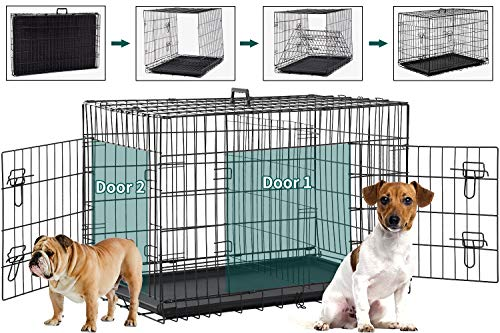 BMS Dog Crate 48 inch 42 inch Dog Kennel for Large Medium Dog Crate Folding Metal Dog Crate Indoor/Outdoor Double Door Travel Metal Dog Crate with Plastic Tray