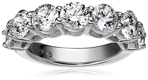 Platinum-Plated Sterling Silver 7-Stone Ring made with Swarovski Zirconia (3 cttw), Size 5