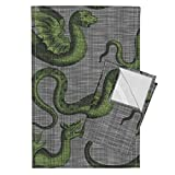 Roostery Draco Dragons Fantasy Medieval Green Grey Linen Luxe Tea Towels Draco ~ Evil Green On Steel by Peacoquettedesigns Set of 2 Linen Cotton Tea Towels