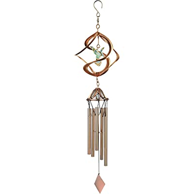 Red Carpet Studios Cosmix Copper Wind Spinner and Chime, Hummingbird: Garden & Outdoor