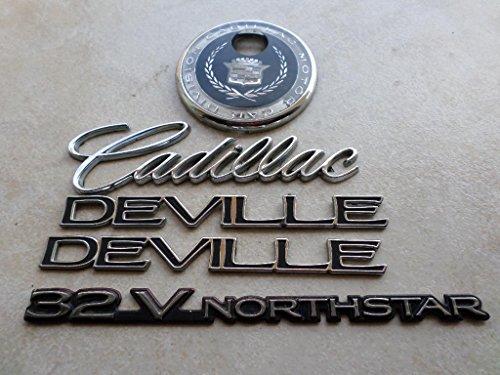 99 CADILLAC DEVILLE 32V NORTHSTAR MOTOR CAR DIVISION FENDER REAR TRUNK KEY HOLE 2563490 CHROME EMBLEM SET OF 5