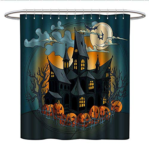 (Anshesix Halloween Decorationsfunny Shower curtainMedieval Haunted House with Garden Full of Pumpkins and Dark NightPlastic Shower curtainOrange)