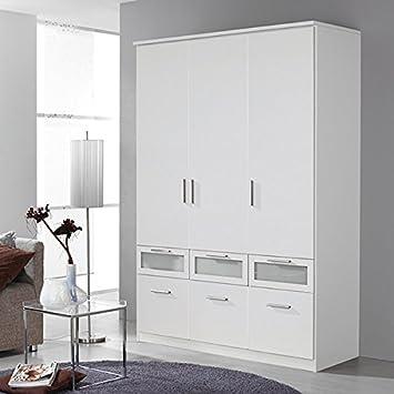 Kleiderschrank 3 Türen B 136 cm weiß Schrank Drehtürenschrank ...