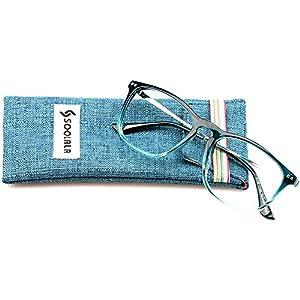 SOOLALA Designer Large Horn Rimmed Clear Lens Eyeglass Frame Reading Glasses, +3.0, Blue