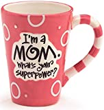 I'm A Mom, What's Your SuperPower? 12oz Coffee Mug Great Gift for Mother (Pink & White)