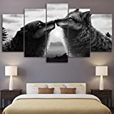 PEACOCK JEWELS [Large] Premium Quality Canvas Printed Wall Art Poster 5 Pieces / 5 Pannel Wall Decor Black Couple Wolf Painting, Home Decor Pictures - Stretched
