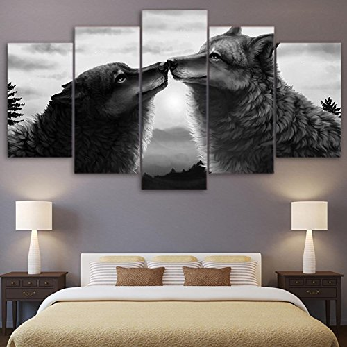 PEACOCK JEWELS [Large] Premium Quality Canvas Printed Wall Art Poster 5 Pieces / 5 Pannel Wall Decor Black Couple Wolf Painting, Home Decor Pictures - Stretched by PEACOCK JEWELS (Image #5)