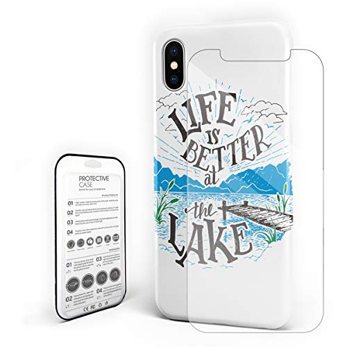 (Protective Phone Case for iPhone X Case Cover, Life is Better at The Lake Wooden Pier Plants Mountains Sketch, Shockproof Anti-Scratch Hard Back Case with Tempered Glass Screen)