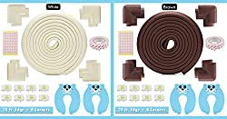 Edge & Corner Protector Set - Long 20ft Foam Sharp Furniture Safety Pads 8 Corners, Brown, Baby & Child Cushion Protection, Door Stopper - Electrical Socket Cover Include