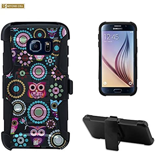Galaxy S7 Edge Case, S7 Edge Case, Beyond Cell Durable High Impact Hard+Soft Hybrid Rugged Case Built in Kickstand Belt Clip Holster- Owl/Circle Collage Sales