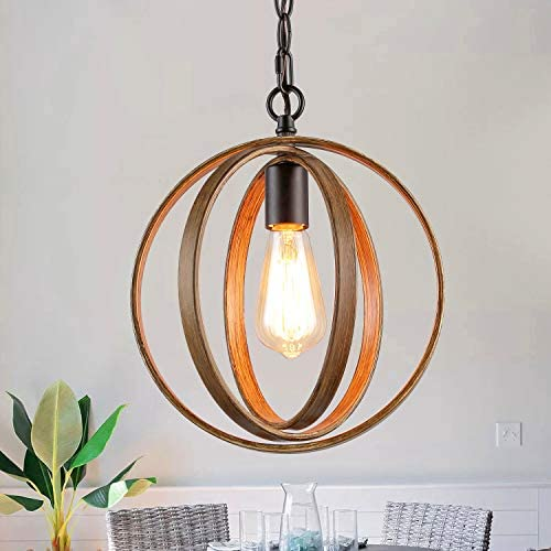 LOG BARN 11 Metal Globe Pendant Lighting, Small Orb Chandeliers, Farmhouse Foyer Hanging Light Fixture for Dining Room, Living Room, Faux-Wood Finish