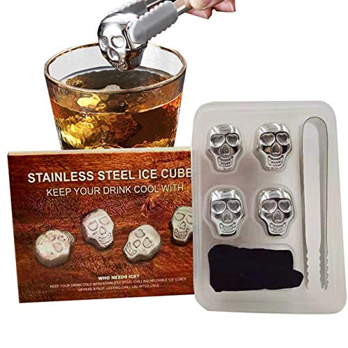 9M9 Reusable Stainless Steel Ice Cube Skull Metal Whiskey Stones for Drinks Skull Shaped Set of 4 Whiskey Wine Beer Vodka Chillers Gift Box Packing, Gifts for Father, Boyfriend, Friend