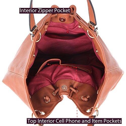 Satchel Lightweight Purse Handbag Women Shoulder brown Tassel Leather Tote Hobo Bag wqqBY4nH
