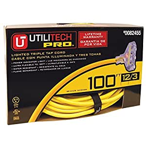 utilitech 100 ft 15 amp 3 outlet 12 gauge yellow outdoor extension cord. Black Bedroom Furniture Sets. Home Design Ideas