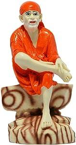 Indian Decor & Attire Sai Baba Murti Marble Idol Statue for Pooja, 4 inch (Orange)