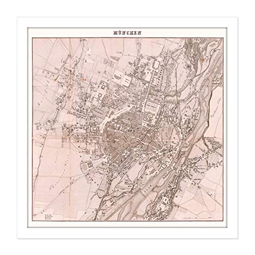 Map 1838 Soltl Munich City Plan Bavaria Square Wooden Framed Wall Art Print Picture 16X16 Inch