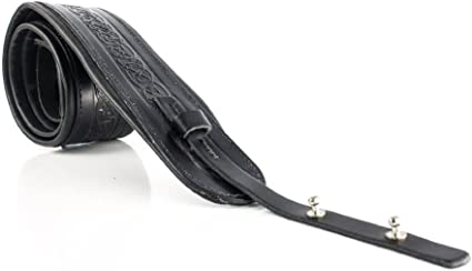 """Black 2.5/"""" Leather Softy Guitar Strap Padded By LeatherGraft Hand Made In UK"""
